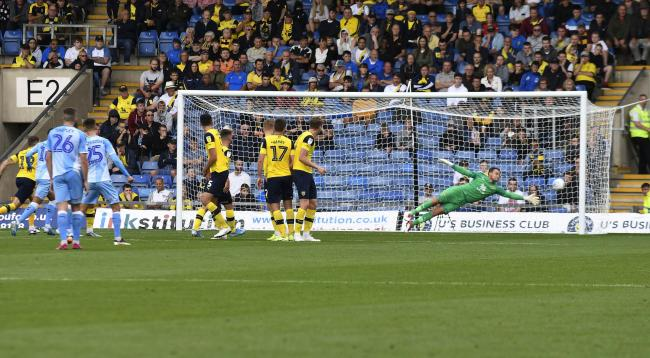 Simon Eastwood can't reach Zain Westbrooke's free-kick for the opening goal  Picture: David Fleming
