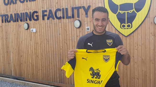 Oussama Zamouri at the training ground after completing his move to Oxford United  Picture: OUFC