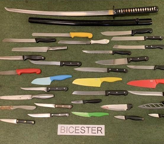 An image shared by police of a previous knife amnesty at Bicester police station