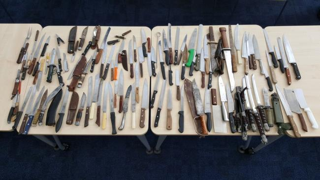 Sharp rise in number of people carrying weapons 'needs to be taken seriously'Knives collected at Abingdon station Picture: Thames Valley Police