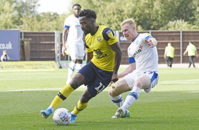 Tariqe Fosu keeps possession for Oxford United against Tranmere Rovers  Picture: David Fleming