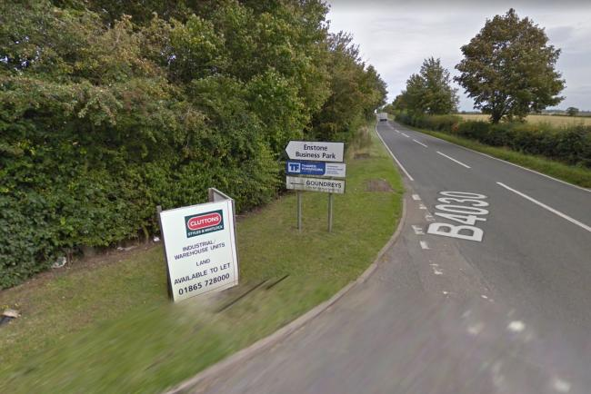 Enstone Business Park close to the place where the cyclist and car crashed