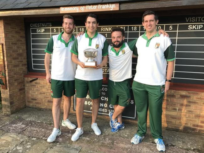 Watlington's winning team with the Summertown Trophy. From left: Chris Gilkes, Sam Watts, Will Soden and Rob Parkes