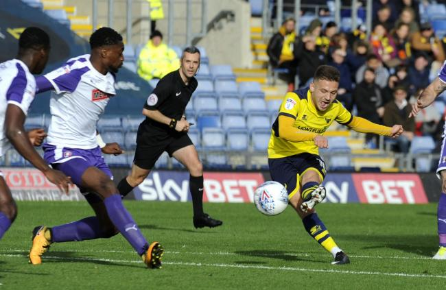 Jack Payne scoring for Oxford United during his loan spell in 2017   Picture: David Fleming