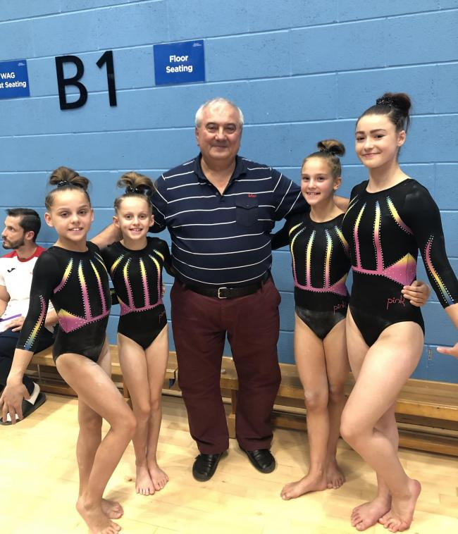 From left to right - Tiegan Trafford, Corinna Gooderham, Adrian Stan (previous GB technical director and the man who the event is named after), Olivia Kenny & Kitty Hitchens