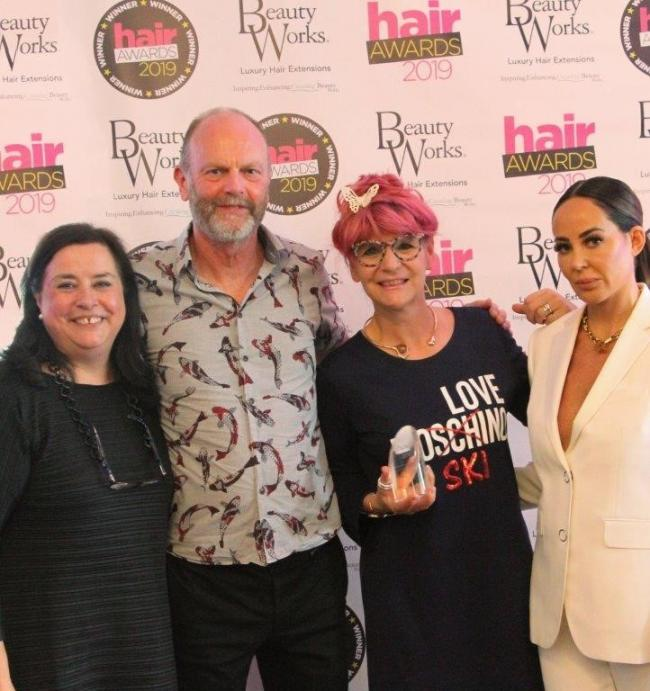 Hair Magazine publisher Linda Fox, owners of Anne Veck Salons, Keith Mellen and Anne Veck, and Penelope Cheshire, Managing Director of sponsor Beauty Works Online