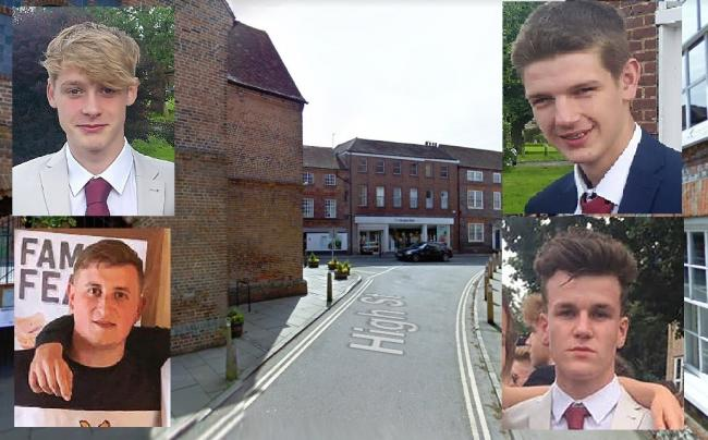Clockwise from top left, Joshua Campell, Kieran Clifton, Se Smith and Daniel Clifford, who were convicted of affray in the centre of Watlington. Pictures: INS/ Google Maps