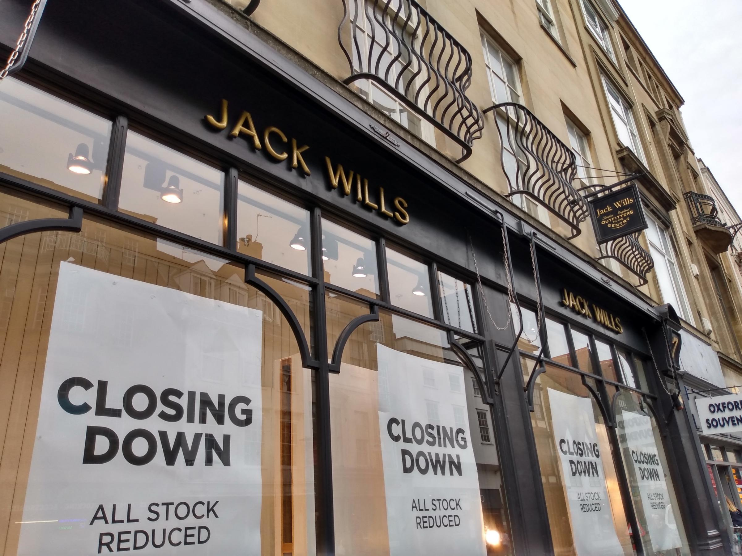 Jack Wills' closing down signs go up in Oxford