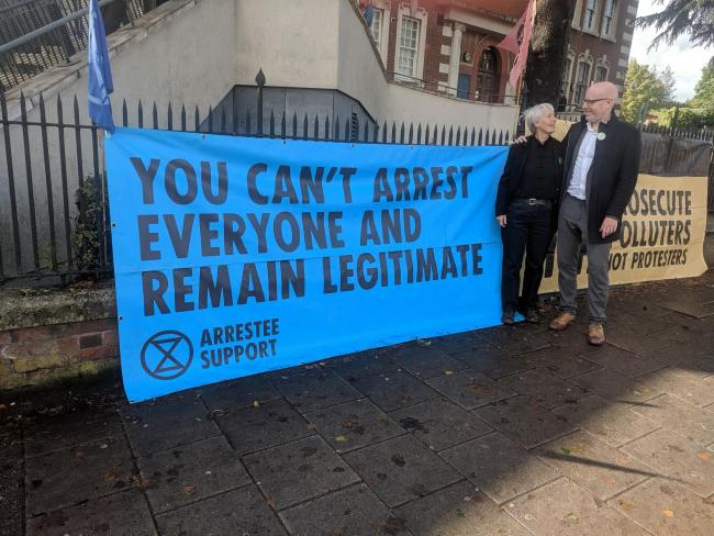 Rowan Tilly and Mike Betts outside Hendon Magistrates' Court after walking free. Picture: Mike Betts