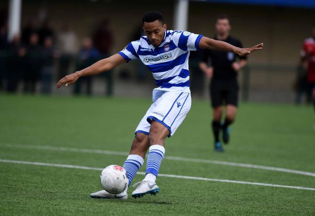 Stefan Brown in action for Oxford City in Saturday's 2-0 Emirates FA Cup third qualifying win over Hampton & Richmond Borough Picture: Mike Allen