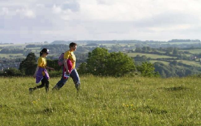 Walkers in the Cotswold Hills.
