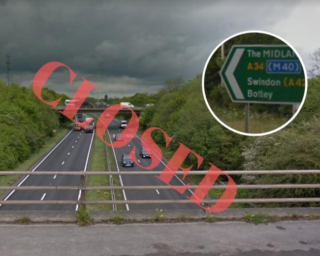 The A34 between Botley and South Hinksey will be closed for repairs to the Botley Flyover. Picture: Google Maps.