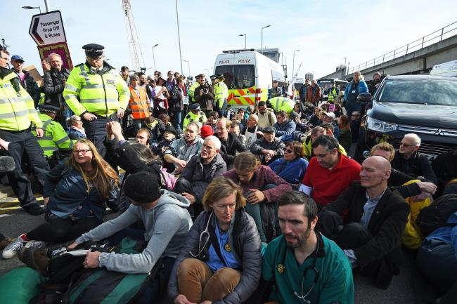 Protesters outside City Airport, London, today. Picture: Kirsty O'Connor/PA Wire