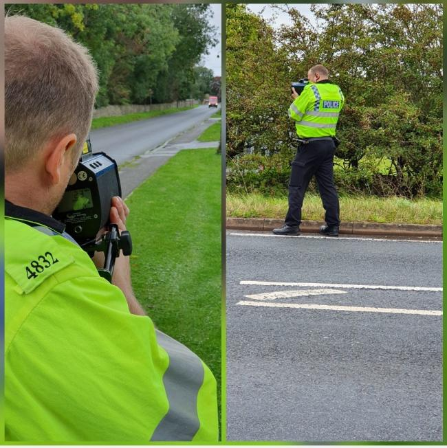 PC Longman from Bicester problem solving team joined police in Kidlington for the speed patrol. Picture: Thames Valley Police.
