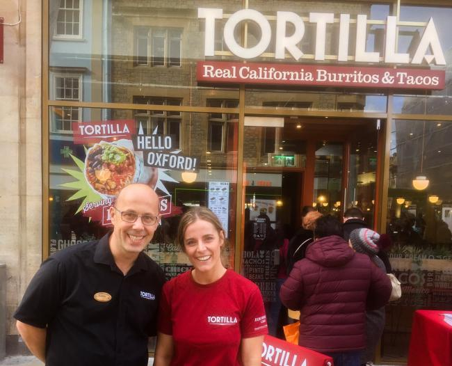 Tortilla general manager Slavo Balaz and marketing manager Megan Burton-Brown outside Oxford's new branch.
