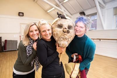 Alice Evans, Jacqui Lewis and Ally Baker of Oxford Theatre Guild with the puppet from their Pinocchio production.