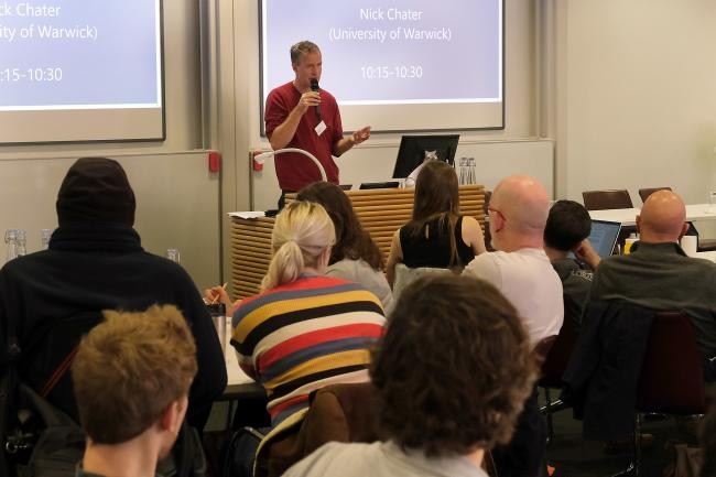 Professor Nick Chater from Warwick University speaking at the second Oxford Citizens Assembly on Climate Change. Picture: Ric Mellis