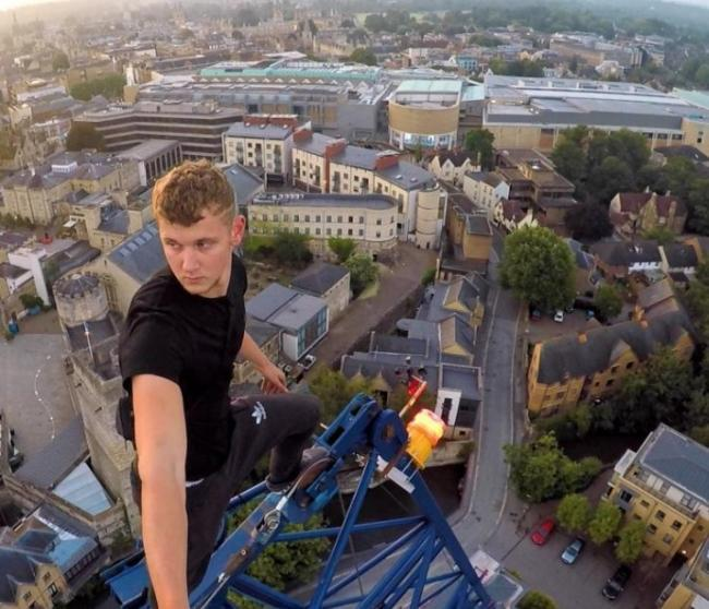 George King on a previous free climb up an Oxford crane, posted on his YouTube page