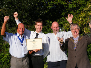 From left, deputy mayor Richard Mould; Chris Johnson of Bicester Town Council; Brian Corcoran, head gardener and mayor James Porter