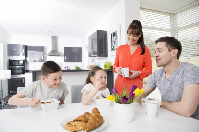 Stock image of a family at home