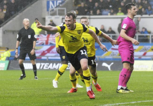 Sam Long celebrates scoring for Oxford United against Rochdale this season   Picture: David Fleming