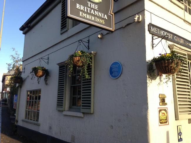 The Britannia Inn with the plaque on its walls
