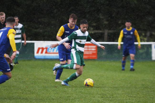 Wantage goalscorer Jack Buchanan on the ballPicture: Ed Nix