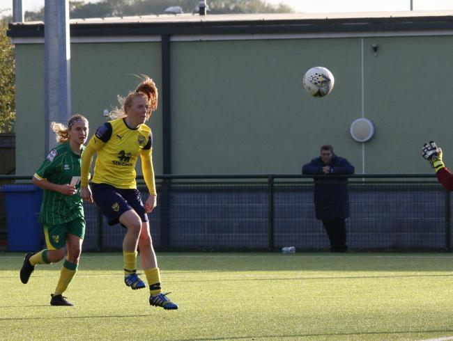 Cheryl Williams scores her third goal in Oxford United Women's big win over Norwich City  Picture: Tom Melvin