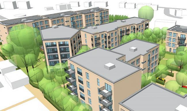 Artist impression of Ivy Lane from the south Picture A2Dominion