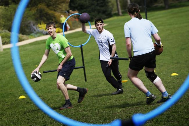 Players aim to get balls through hoops while riding 'broomsticks' and dodging beaters.	