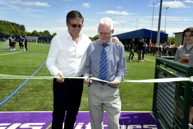 Then-Oxford United chairman Darryl Eales officially opens Oxford City FC's new facilities and 3G pitch in July 2017. He is pictured with Oxford City chairman Brian Cox Picture: David Fleming