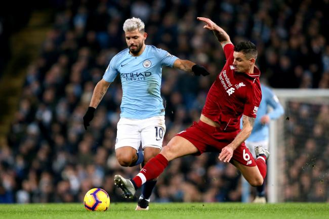 Sergio Aguero will be hoping to fire Manchester City to victory over Liverpool on Sunday