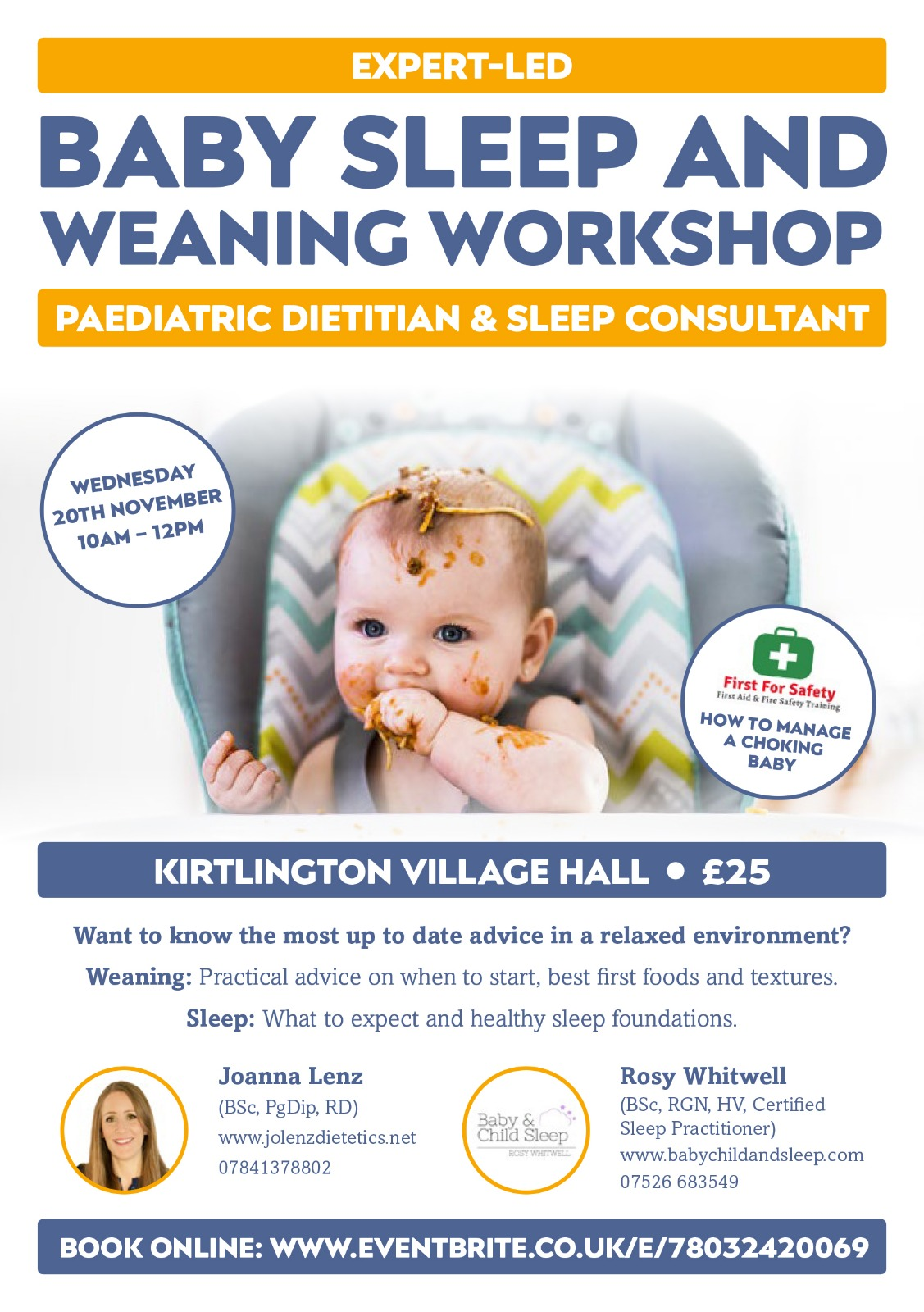 Baby Sleep and Weaning Workshop with Choking Advice