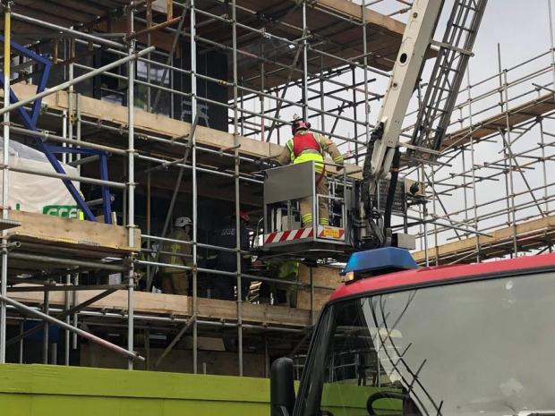 Oxford Mail: Fire crews rescue man from Graven Hill site scaffolding