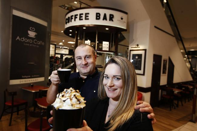 Couple Dan Goldsmith and Jane Wallace pictured at their new coffee shop inside the Oxford Debenhams.