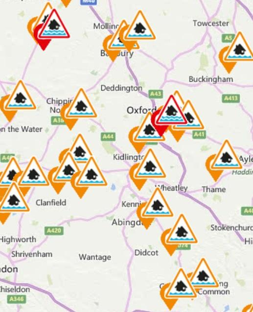 Oxford Mail: Flood alerts and warnings for Oxfordshire