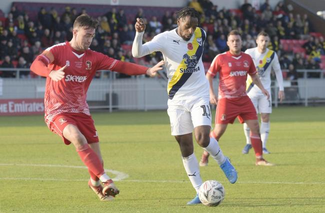 Tariqe Fosu in action during Oxford United's Emirates FA Cup first round victory at Hayes & Yeading United  Picture: David Fleming