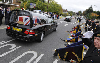 L/Cpl Hill's hearse arrives in Headley Way