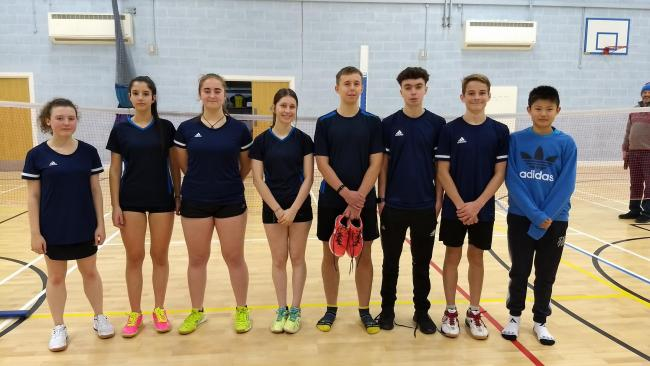 Oxfordshire's Under 18 badminton team. Jess Street, Rebecca Norkett, Catherine Cousins, Maddy Cook, Charlie Driver, Harry Jones, Albie Marriott and Jason Oz.