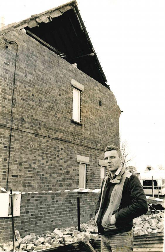 Mr Keitch outside his wind-ravaged council house in Brightwell, in January 1990