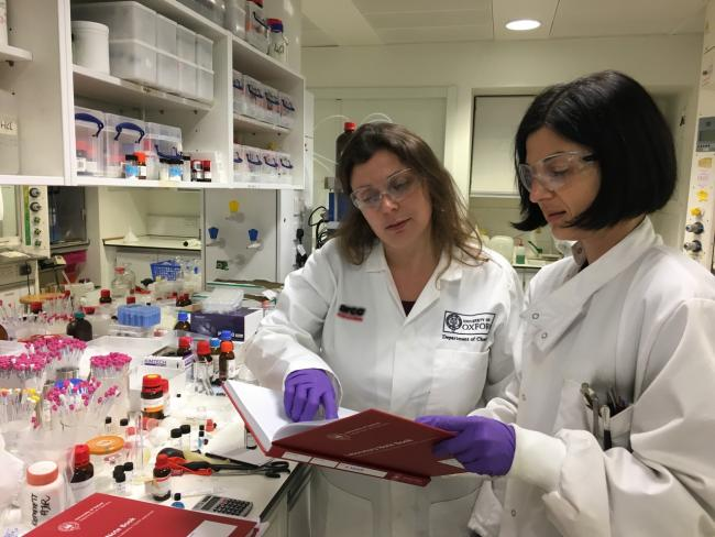 Professor Angela Russell, left, in the lab.