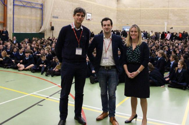Election candidates Alistair Fernie, James Fredrickson and Louise Staite at Headington School. Picture: Headington School.