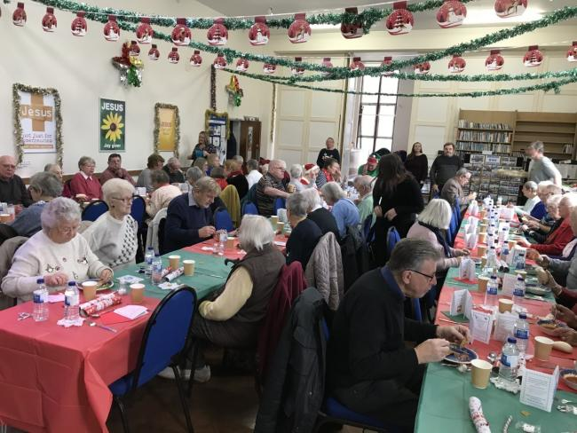 Sixty people enjoyed a free Christmas lunch at Ceewood Hall