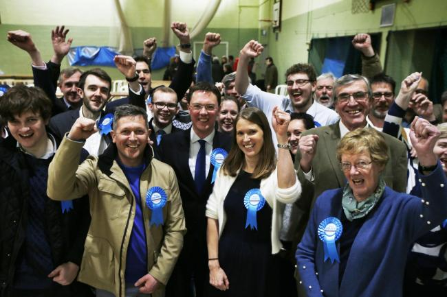 Conservaties celebrate after the count at Witney. Picture: Ed Nix