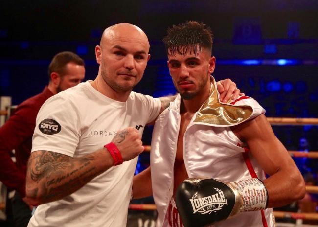 Jordan Flynn with Kevin Mitchell after his first professional fight in December Picture: Unknown Boxers