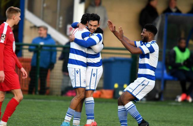 Zac McEachran celebrates his goal against Hungerford Town, which is in the running   Picture: Mike Allen