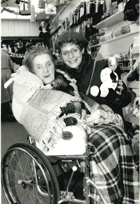 Remember when: disabled shopping night on November 26, 1985. Annie Powell, 87, of Oseney Court with her helper Barbabra Henderson