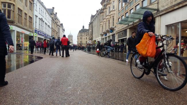 A cyclist in Cornmarket Street. Picture: Andy Ffrench
