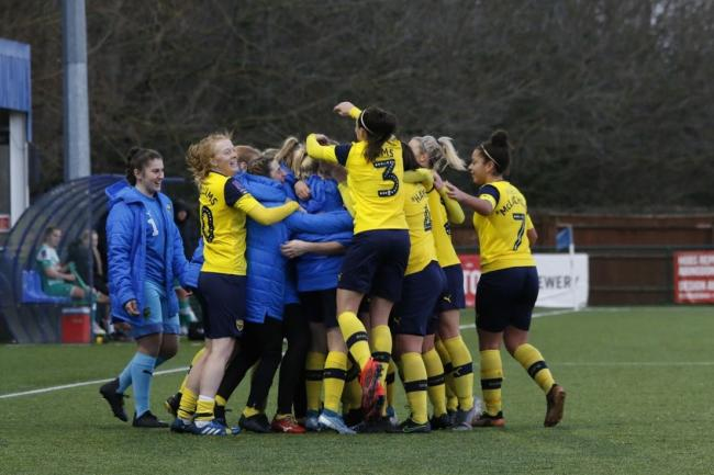Oxford United Women celebrate their last-minute winner against Plymouth Argyle Picture: Tom Melvin