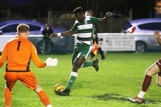Wantage Town's Jamal Sule tries his luck Picture: Ed Nix